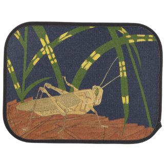 Grasshopper in Green Grass on Blue Background Floor Mat