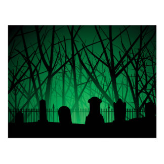 Graveyard And Trees Background Postcard