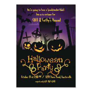 Graveyard Antics Halloween Invitation