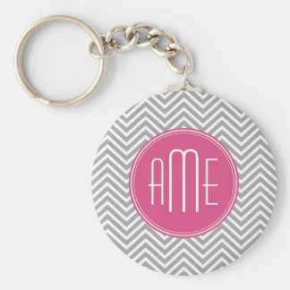 Gray and Pink Chevrons with Custom Monogram Basic Round Button Key Ring