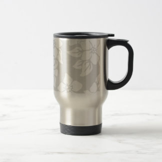 Gray and White Floral Stainless Steel Travel Mug