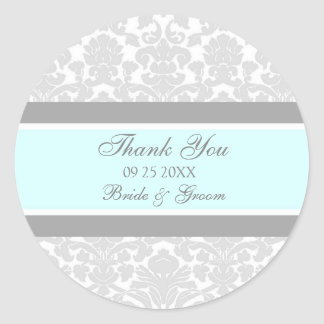 Gray Blue Damask Thank You Wedding Favor Tags Round Sticker