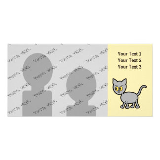 Gray Cat with Amber Color Eyes. Picture Card