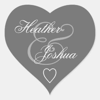 Gray Envelope Seal Wedding Heart V14 Heart Sticker