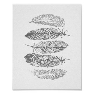 Gray Watercolor Feather Tribal Print Poster