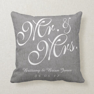 Gray White Linen Mr. and Mrs. Wedding Pillow Throw Cushions