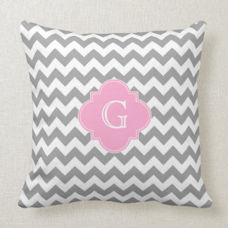 Gray Wht Chevron Pink Quatrefoil Monogram Throw Cushions