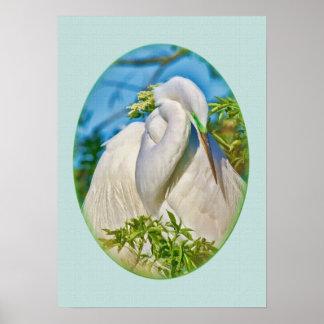 Great Egret in Motherhood Moment Poster