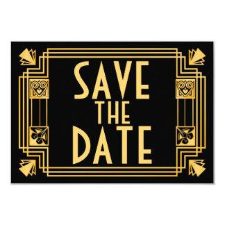 Great Gatsby 1920s Art Deco Wedding Save the Date 9 Cm X 13 Cm Invitation Card
