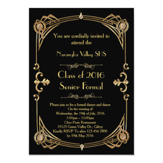 Great Gatsby Prom invitation, art deco style 13 Cm X 18 Cm Invitation Card