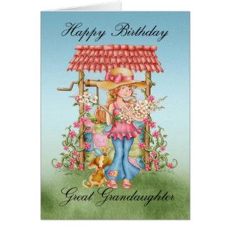 Great Granddaughter Cute Girl And Wishing Well Bir Greeting Card