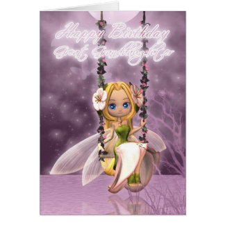 Great Granddaughter Happy Birthday cute fairy on f Greeting Card