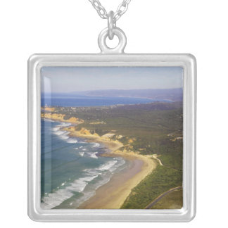 Great Ocean Road and Split Point Lighthouse, Square Pendant Necklace