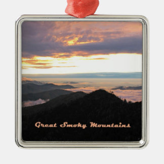 Great Smoky Mtns Sunset Silver-Colored Square Decoration