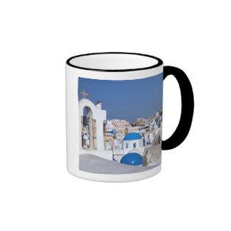 Greece, Santorini. Bell tower and blue domes of 2 Ringer Mug