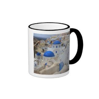 Greece, Santorini. Bell tower and blue domes of 3 Ringer Mug