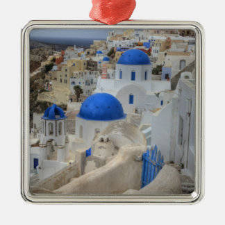 Greece, Santorini. Bell tower and blue domes of 3 Silver-Colored Square Decoration