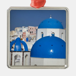 Greece, Santorini. Bell tower and blue domes of Silver-Colored Square Decoration