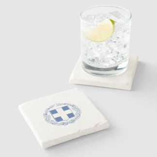 Greek coat of arms stone beverage coaster