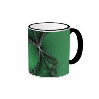 Green and Black Fractal Jewels Ringer Mug