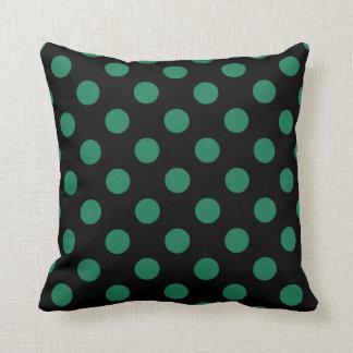 Green and black polka dots throw cushions