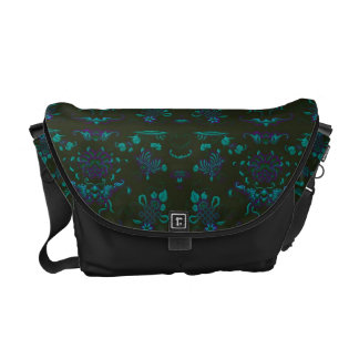 Green and Blue Floral on Black Courier Bags