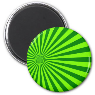Green and Lime Funky Striped Abstract Art 6 Cm Round Magnet