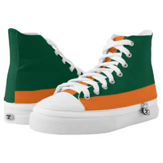 Green and Orange Low-Stripe Hi-Top Printed Shoes
