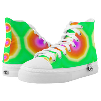 Green and Orange Tiedye Hi Top Printed Shoes