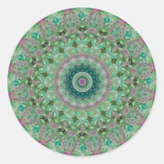Green and Purple Seasons: Spring Mandala Round Sticker
