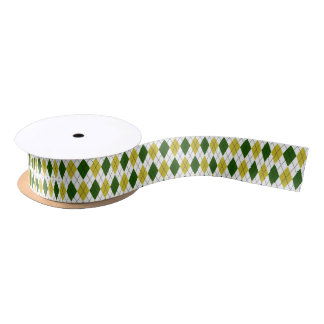 Green and Yellow Argyle Pattern Satin Ribbon