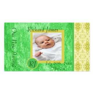 Green and Yellow Baby Boy Birth Announcement Pack Of Standard Business Cards
