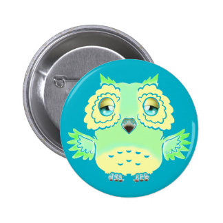 Green and Yellow Owl Button