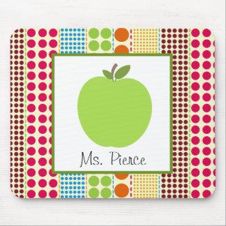 Green Apple / Multicolored Polka Dots Teacher Mouse Pad
