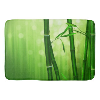Green Bamboo With Pale Bokeh Lights In The Back Bath Mats