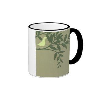 Green Bird Perched on Green Branch Ringer Mug