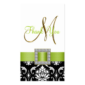 Green, Black White Damask Wedding Thank You Pack Of Standard Business Cards