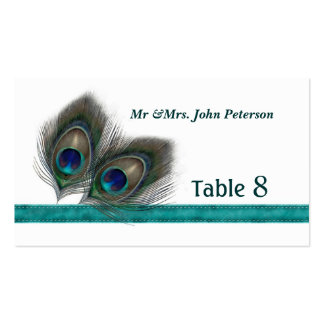 Green blue peacock feathers Place card Pack Of Standard Business Cards