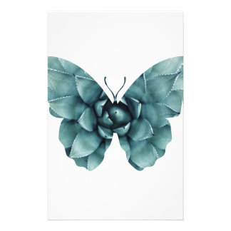 Green blue succulent butterfly silhouette stationery paper