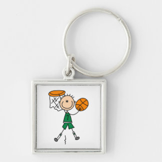 Green Boy Basketball Player t-shirts and Gifts Silver-Colored Square Key Ring