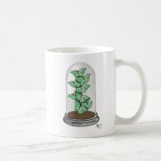 Green Butterflies in Bell Jar 2 Basic White Mug