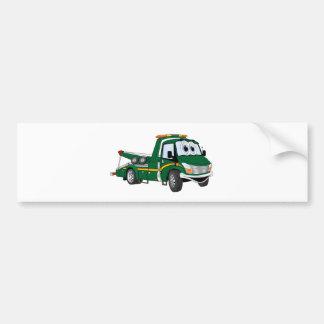 Green Cartoon Tow Truck Bumper Sticker