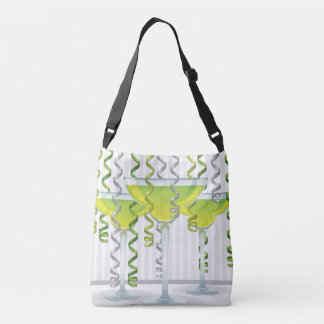 Green cocktail and ribbon tote bag