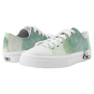 Green Dimension Flower Lo Top Printed Shoes