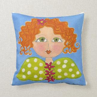 Green Eyed Daisy Girl ~ American MoJo Pillow Cushion