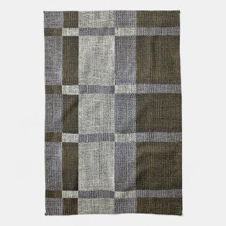 Green & Grey Stripe Box Pattern Kitchen Towels