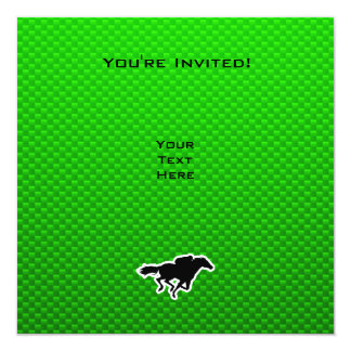 Green Horse Racing 13 Cm X 13 Cm Square Invitation Card