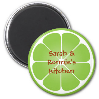 Green juicy lime slice round magnet party favor