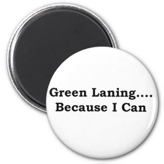 Green laning black 6 cm round magnet