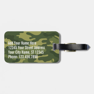 Green Military Camo Pattern with name and address Bag Tags